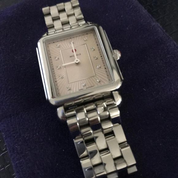 9c468881986 Michele Accessories | Deco Ii Diamond Bracelet Watch Preowned | Poshmark